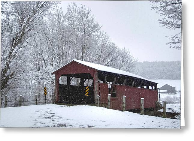 Snow Covered Covered Bridge Greeting Card