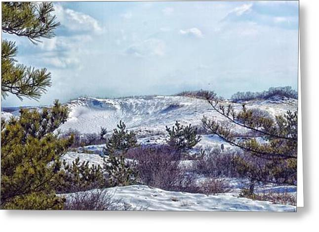 Greeting Card featuring the photograph Snow Covered Dunes Photo Art by Constantine Gregory