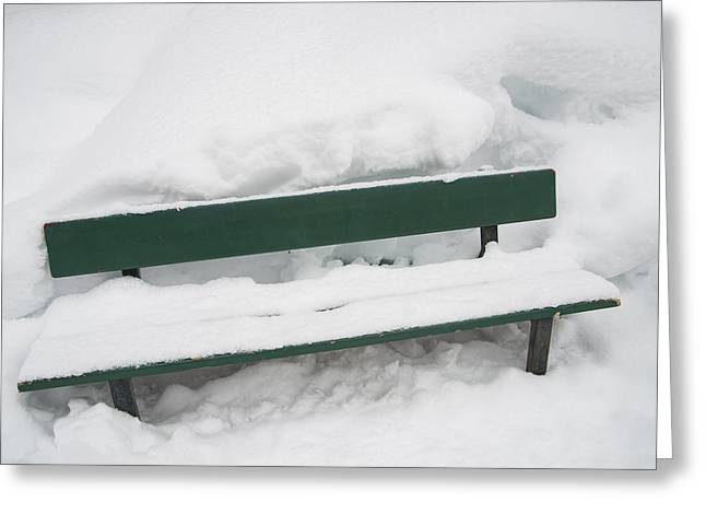 Snow-covered Green Bench In Winter With Lots Of Snow Greeting Card by Matthias Hauser