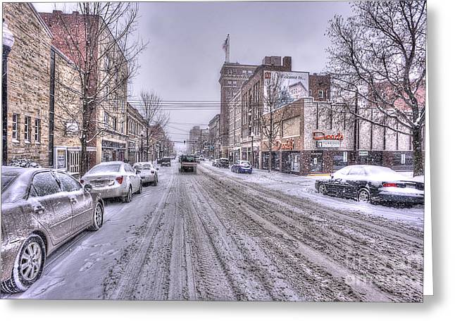 Snow Covered High Street And Cars In Morgantown Greeting Card by Dan Friend