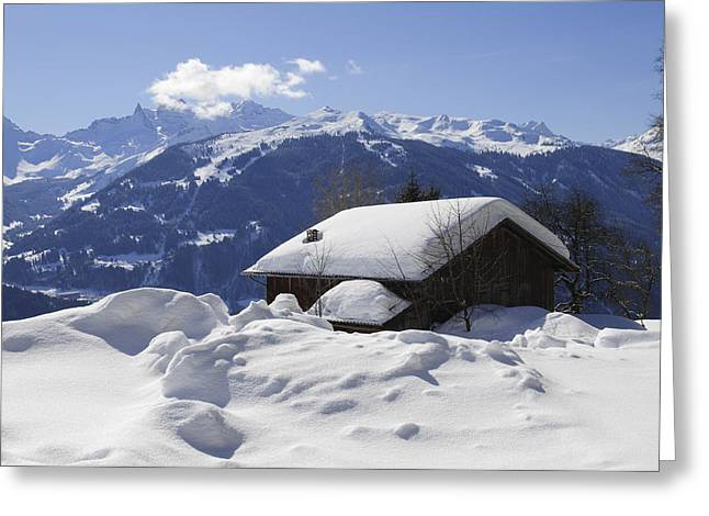 Snow-covered House In The Mountains In Winter Greeting Card by Matthias Hauser