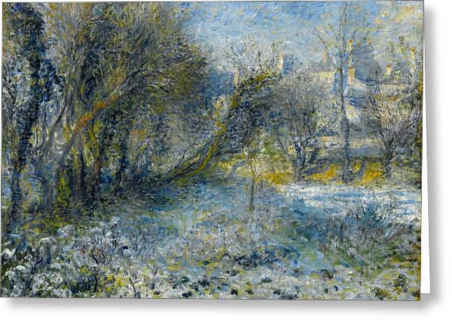 Snow-covered Landscape Greeting Card by Pierre-Auguste Renoir