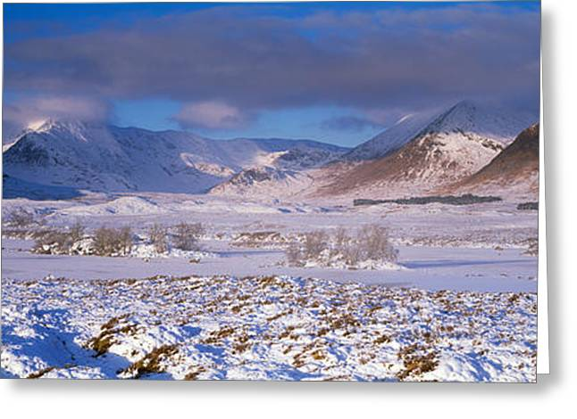 Snow Covered Landscape With Mountains Greeting Card