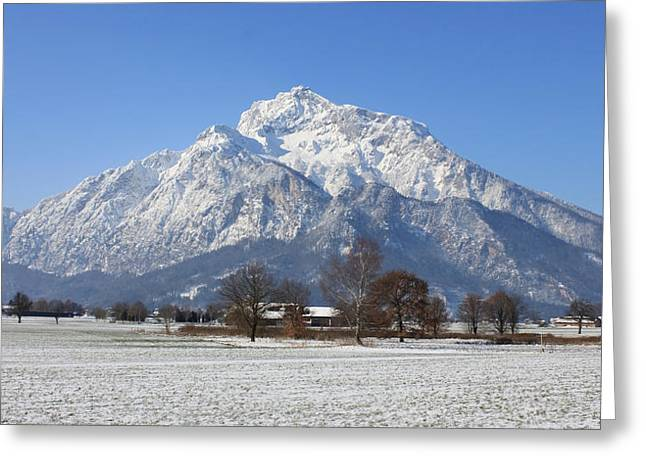 Snow Covered Mountain Greeting Card by Laura Watts