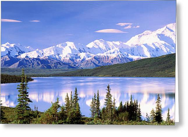 Snow Covered Mountains, Mountain Range Greeting Card by Panoramic Images