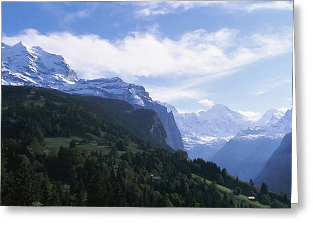Snow Covered Mountains, Swiss Alps Greeting Card by Panoramic Images