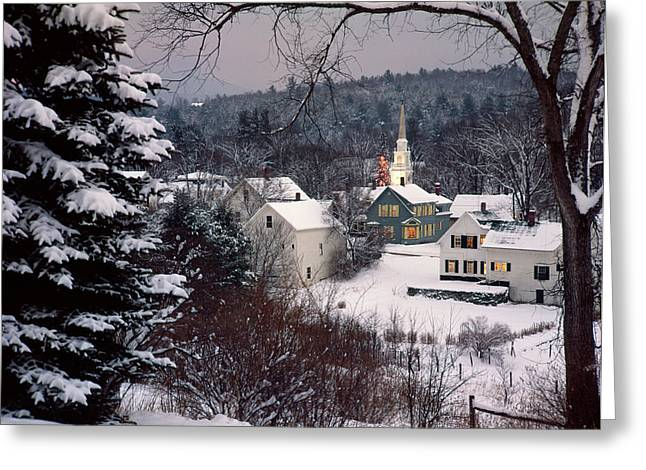 Snow Covered New England Winter Evening Greeting Card