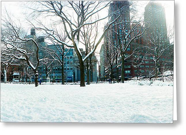 Snow Covered Park, Union Square Greeting Card by Panoramic Images