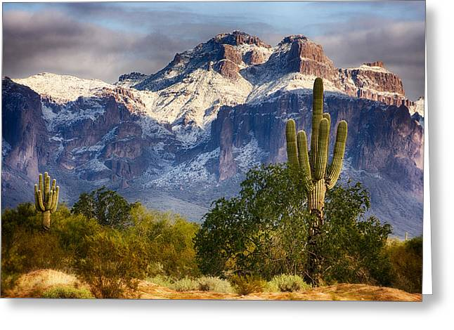Snow Covered Superstitions  Greeting Card