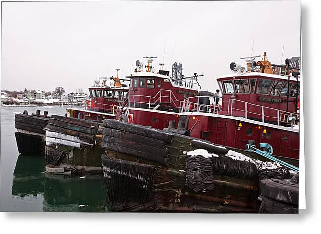 Snow Covered Tugs Greeting Card by Eric Gendron