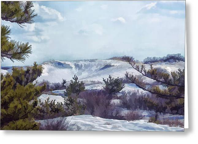 Greeting Card featuring the photograph Snow Covered Dunes by Constantine Gregory