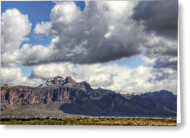 The Supes Greeting Cards - Snow Day at the Superstitions  Greeting Card by Saija  Lehtonen