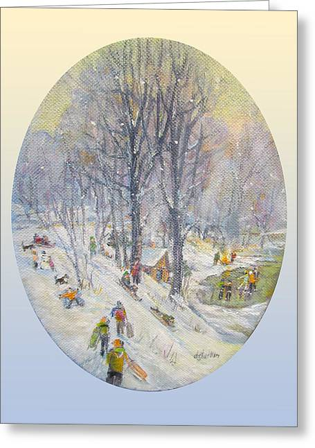 Greeting Card featuring the painting Snow Day by Donna Tucker
