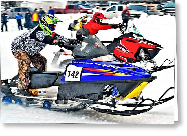 Snow Drags - 1 Greeting Card by Don Mann