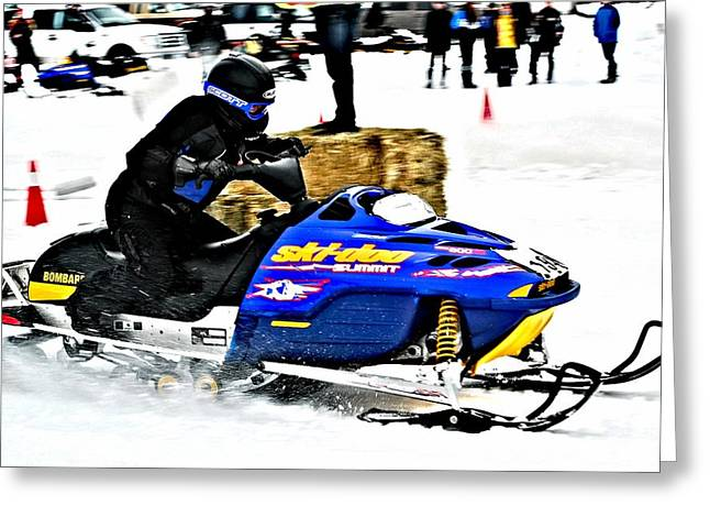 Snow Drags - 11 Greeting Card by Don Mann