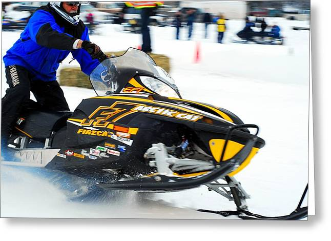 Snow Drags - 3 Greeting Card by Don Mann