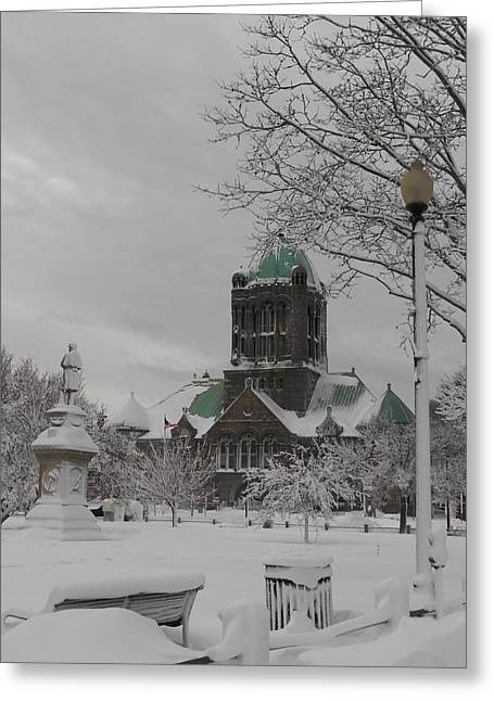 Snow Draped Green Greeting Card