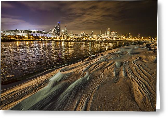 Snow Drift And Chicago Skyline  Greeting Card