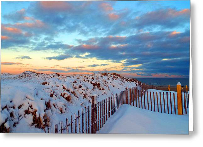 Snow Dunes At Sunrise Greeting Card by Dianne Cowen