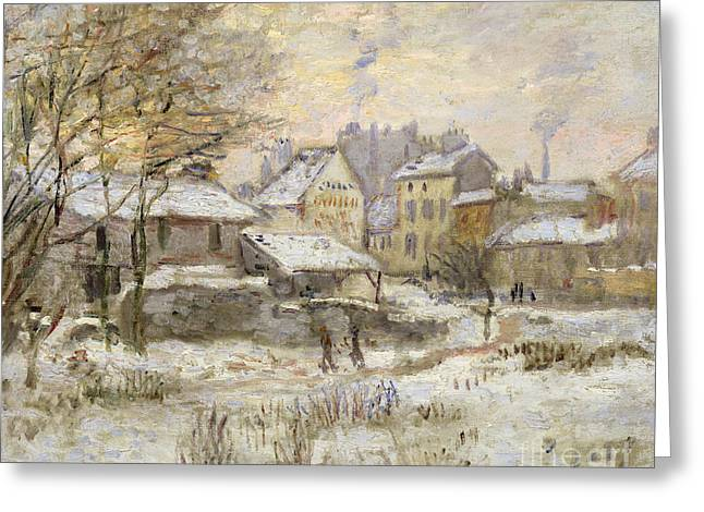 Snow Effect With Setting Sun Greeting Card by Claude Monet