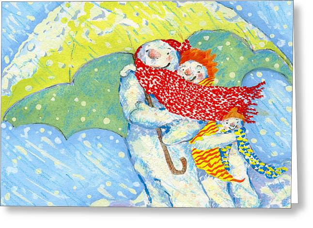 Snow Familys Winter Walk Greeting Card by David Cooke