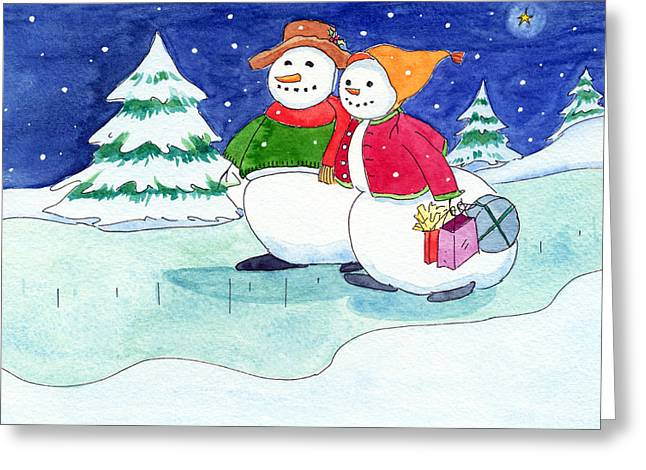 Snow Folks - Shoppers Greeting Card by Katherine Miller