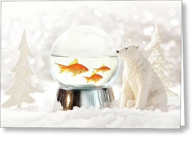 Snow Globe In  Winter Scene Greeting Card by Sandra Cunningham