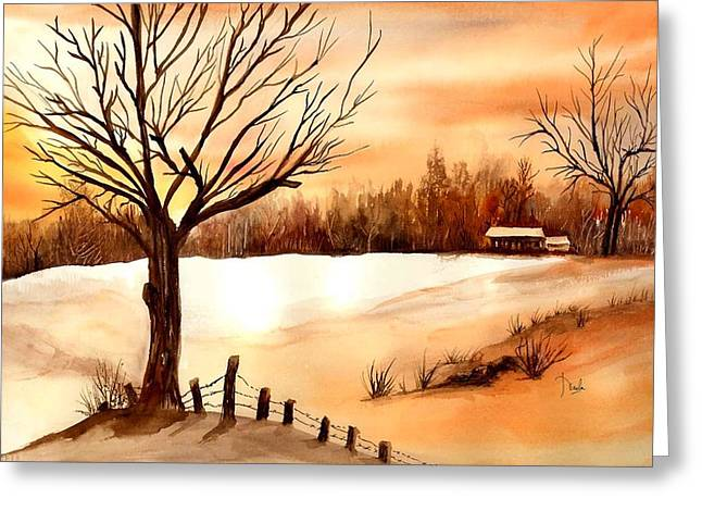 Snow Glow Greeting Card by Neela Pushparaj