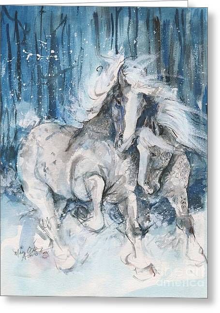 Snow Horses Greeting Card