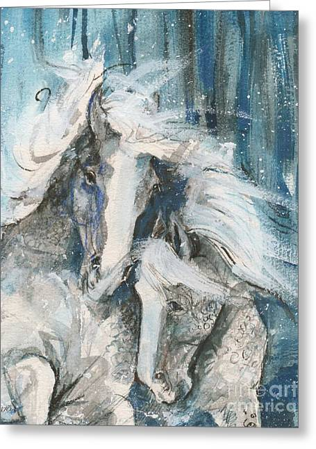 Snow Horses2 Greeting Card