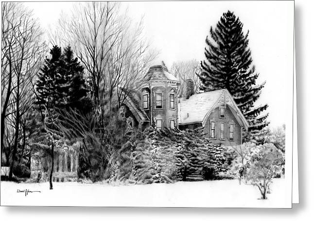 Da196 Snow House By Daniel Adams Greeting Card