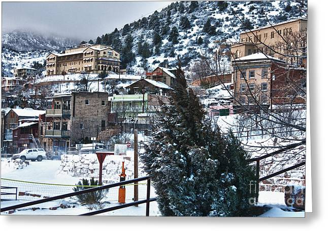 Snow In Jerome Arizona Greeting Card