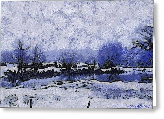 Snow In Texas Van Gogh Style Greeting Card by Lorri Crossno