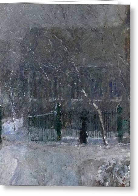 Snow In The Park Greeting Card by Malcolm Mason