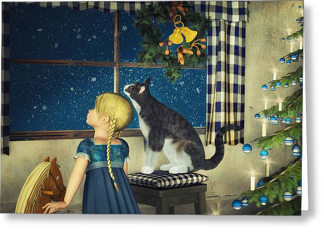 Snow Is Falling Greeting Card by Jutta Maria Pusl