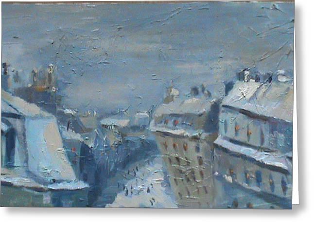 Snow Is Paris Greeting Card by NatikArt Creations
