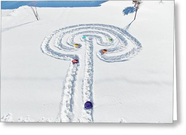 Snow Labyrinth Greeting Card