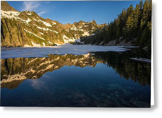 Snow Lake Beauty And Beneath Greeting Card by Mike Reid