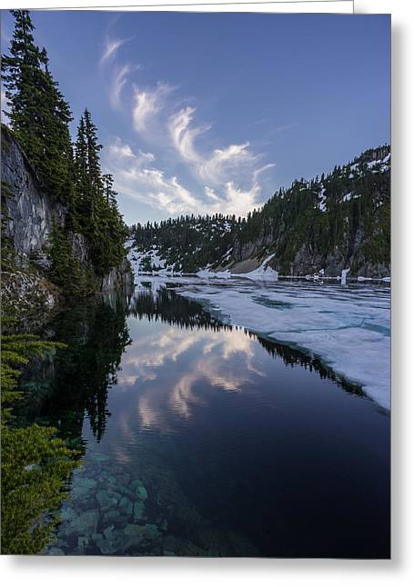 Snow Lake Cloudscape Greeting Card