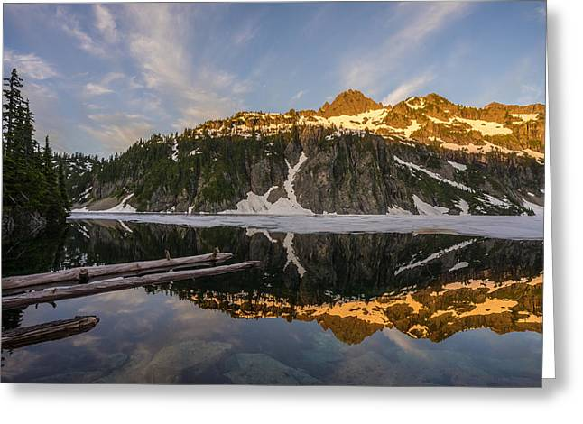 Snow Lake Morning Reflection Greeting Card by Mike Reid