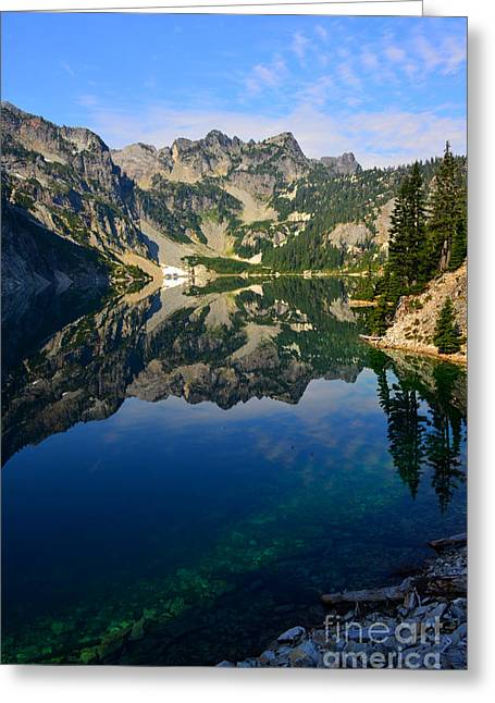 Snow Lake Reflections Greeting Card by Jane Axman