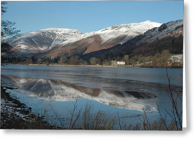 Snow Lake Reflections Greeting Card by Kathy Spall