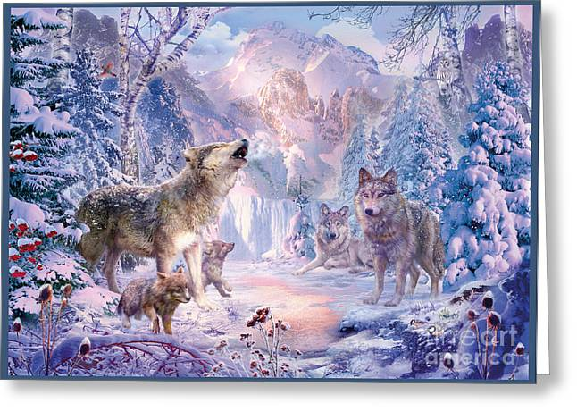 Snow Landscape Wolves Greeting Card
