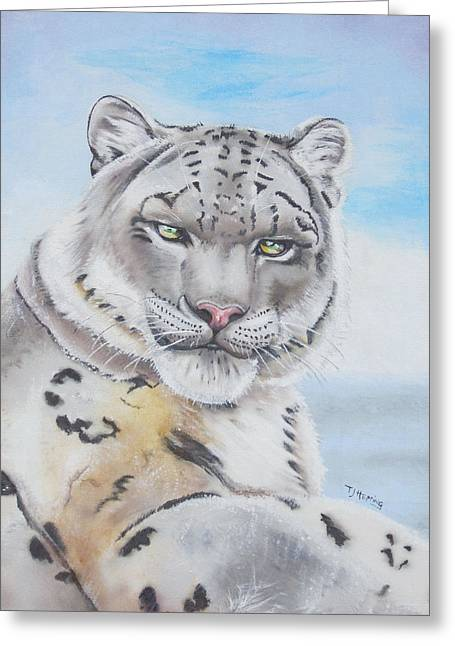 Greeting Card featuring the painting Snow Leopard by Thomas J Herring