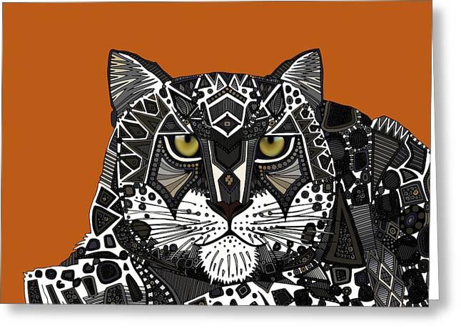 Snow Leopard Orange Greeting Card