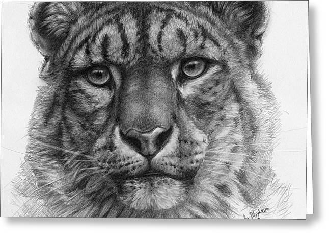 Snow Leopard - Panthera Uncia Portrait Greeting Card by Svetlana Ledneva-Schukina