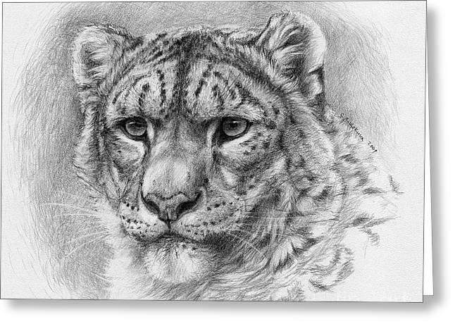 Snow Leopard - Panthera Uncia Greeting Card by Svetlana Ledneva-Schukina