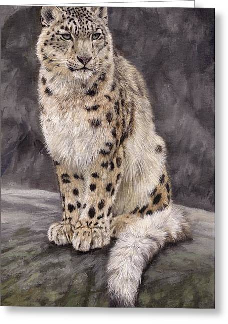 Snow Leopard Sentry Greeting Card by David Stribbling