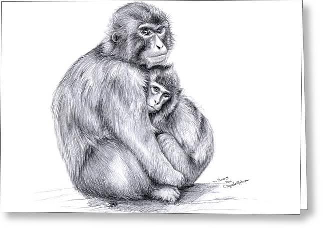 Snow Monkey And Baby Greeting Card by Svetlana Ledneva-Schukina