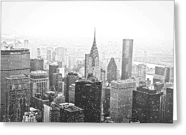 Snow - New York City Skyline Greeting Card by Vivienne Gucwa